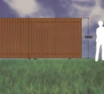 6ft (1.8m) Brown Treated / Slats 100 x 19mm