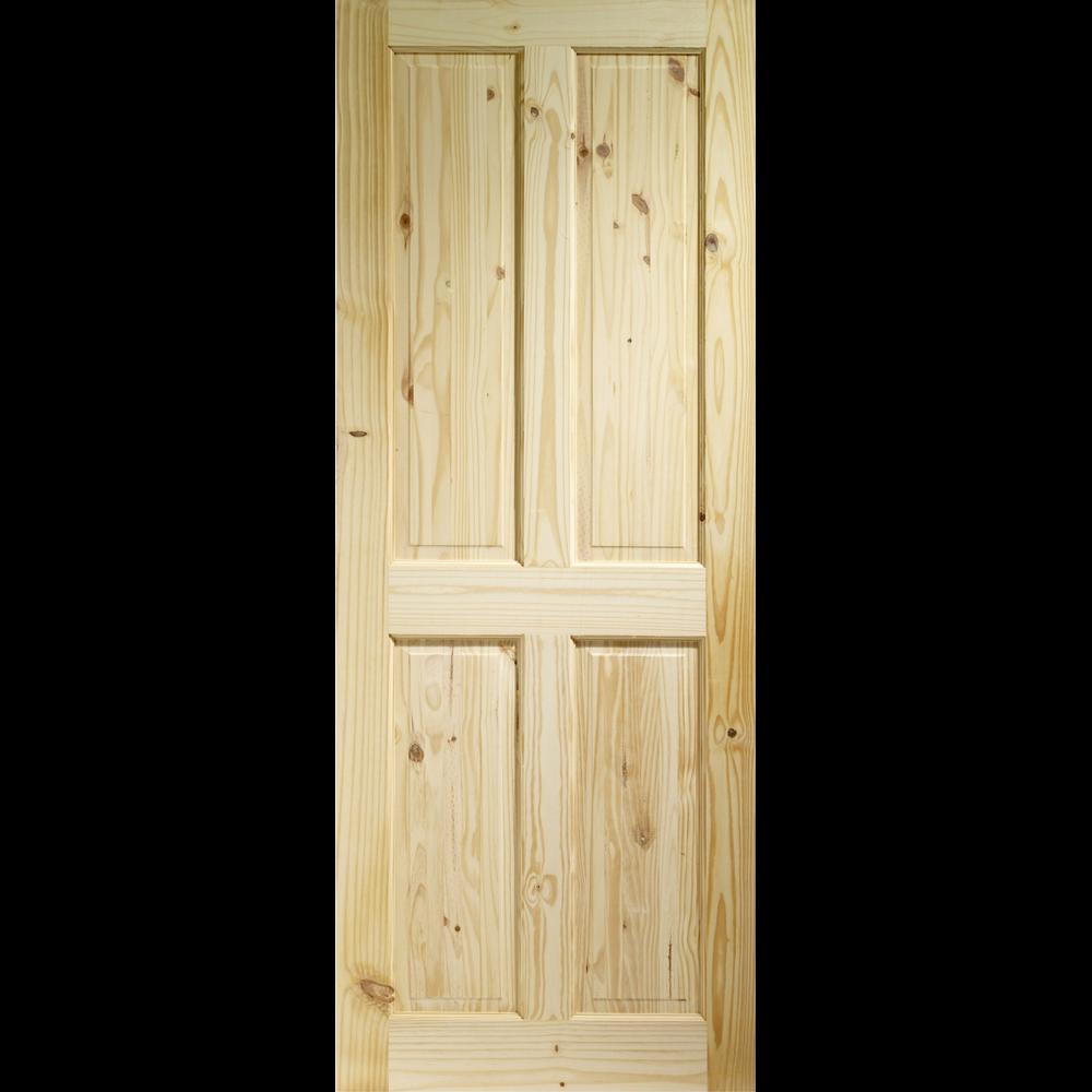 84 x 28 711mm x35mm 4 panel pine door pre finished for Yellow pine wood doors