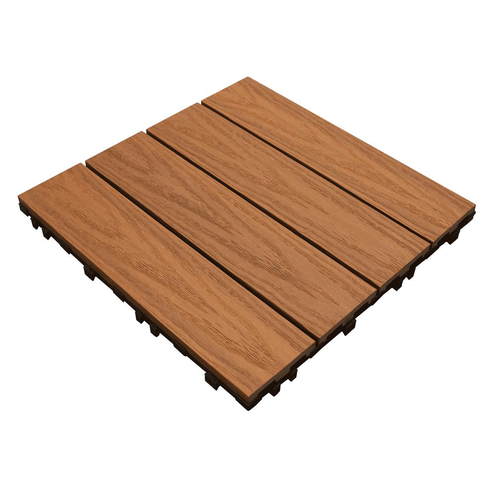 Ultrashield teak deck tiles 0 9 sqm pre finished wooden for Pre made timber decking