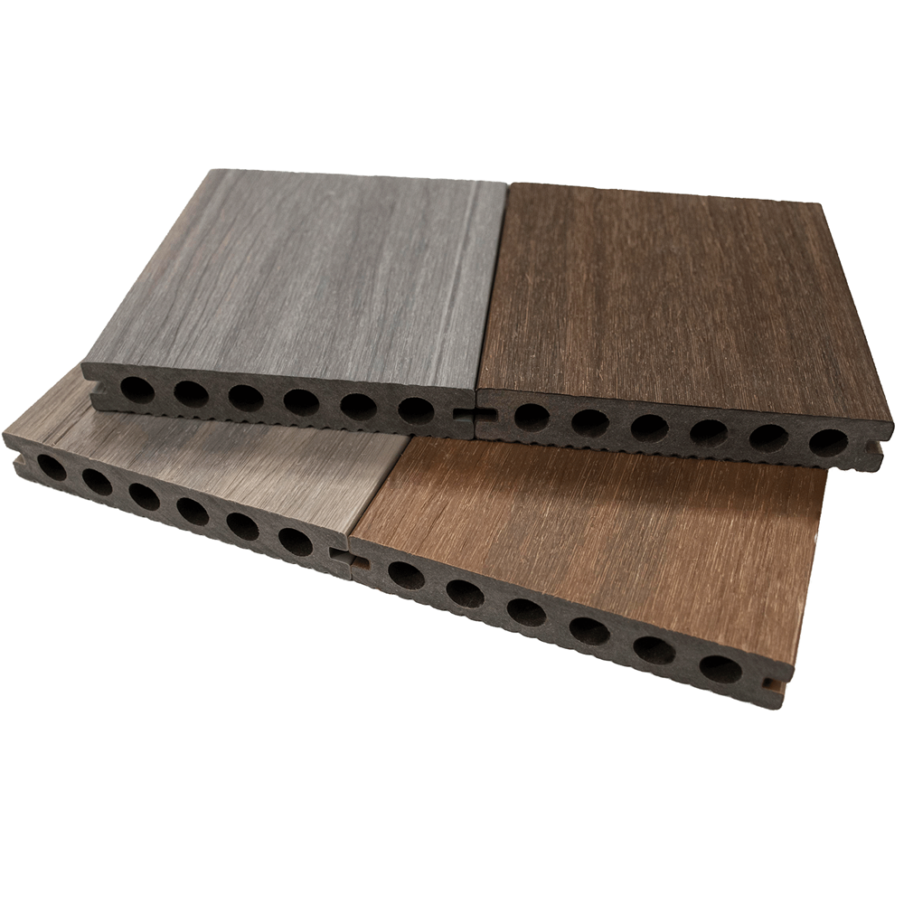 Newtechwood ultrashield sample box pre finished wooden for 4m composite decking boards