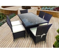6 Seater Brown Dining Set Rattan FLAT PACKED